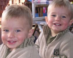 Twins brush up on dental health